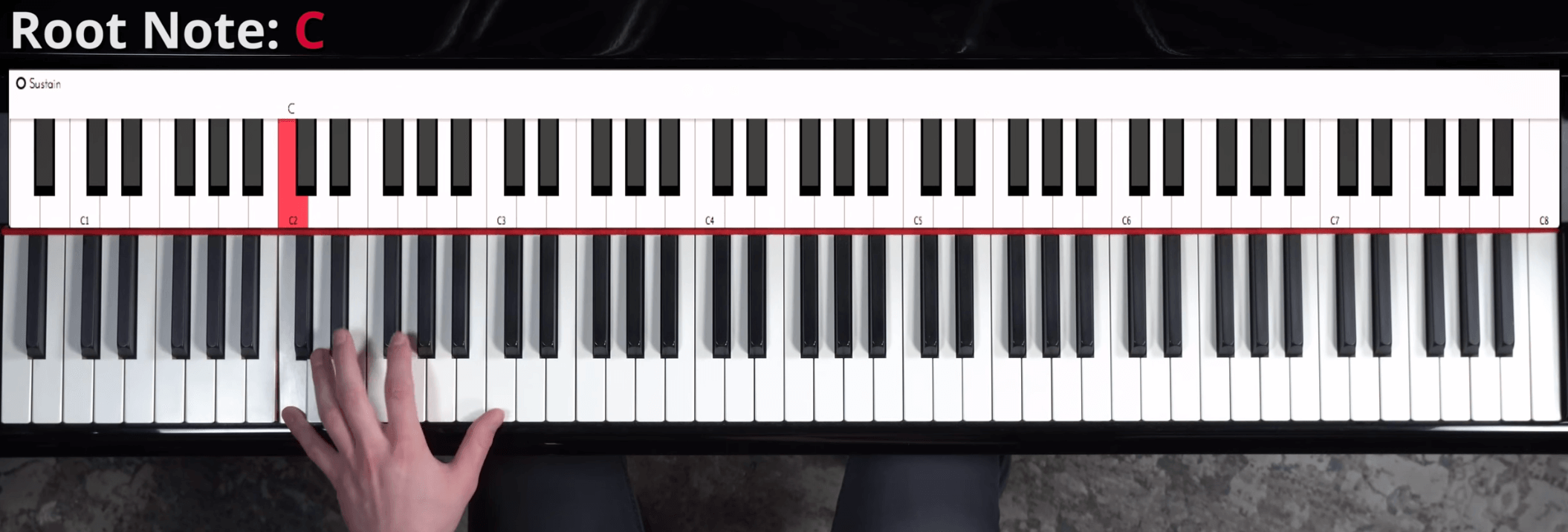 Stride piano root note