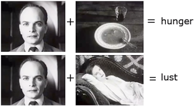In this instance of The Kuleshov Effect we show a man and a bowl of soup, and then the same image of a man and then that of a woman lying down. This insinuates either hunger, or lust.