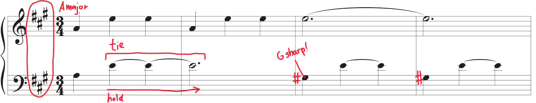 Mark-up of Beautiful Melody #1 sheet music.