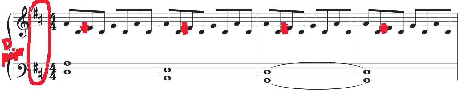 Mark-up of beautiful melody #2 sheet music.