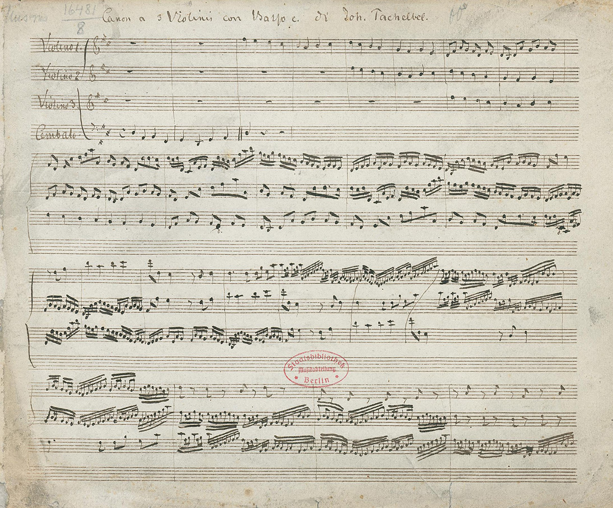 The oldest known surviving manuscript of Canon in D by Johann Pachelbel.