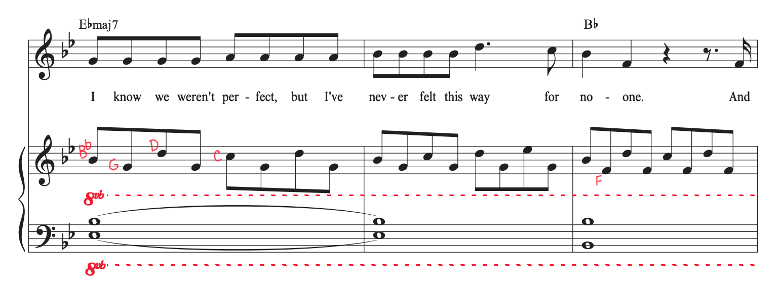 """Sheet music for verse of """"Driver's License"""" by Olivia Rodrigo with mark-ups showing notes and highlighting 8vb."""