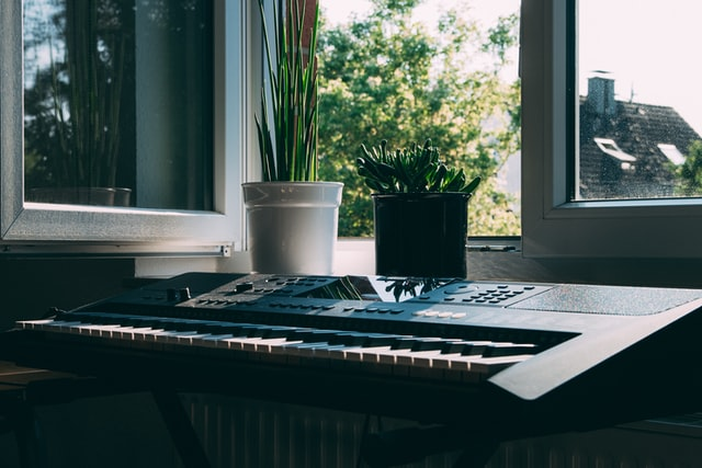 Keyboard placed in front of an open window with plants.
