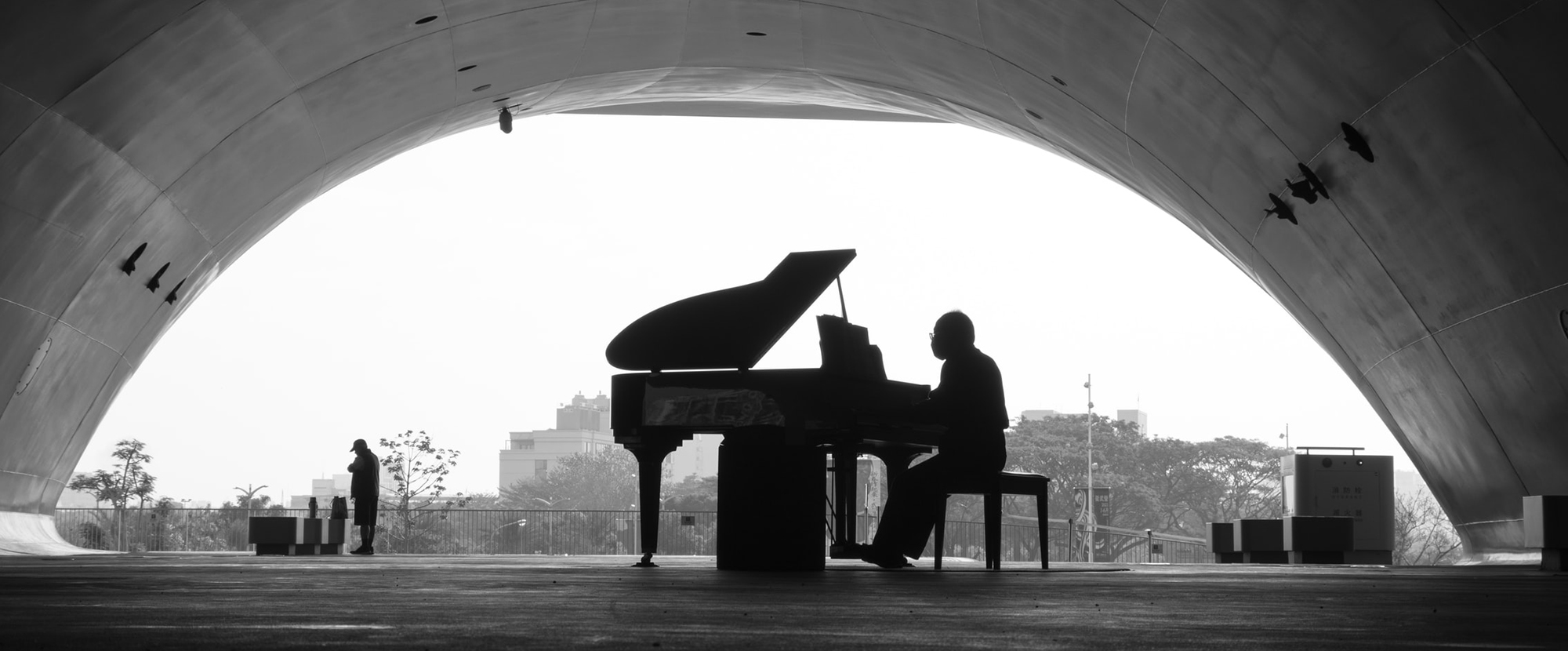 black and white photo of a man playing grand piano under an outdoor wide domed roof.