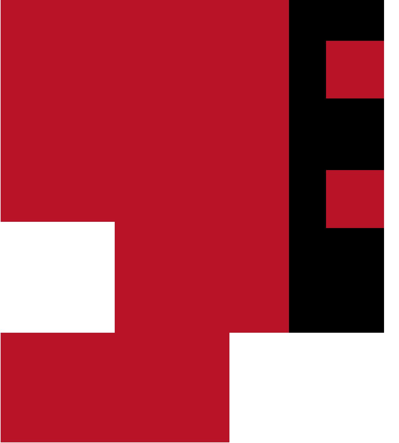 Bass clef in dark red.