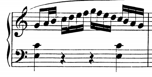 Measure from Sonata in C major by Mozart showing C major scale up and down.