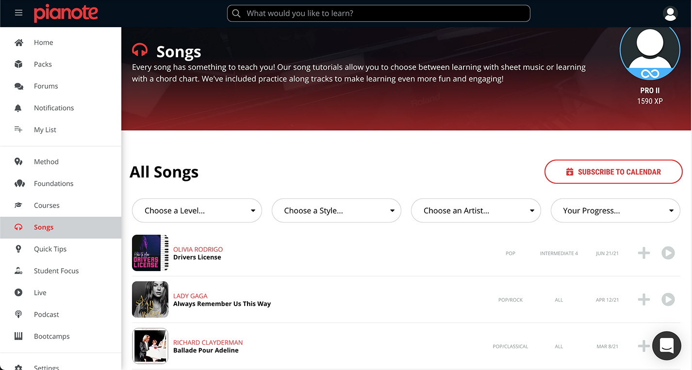 Screenshot of song library.
