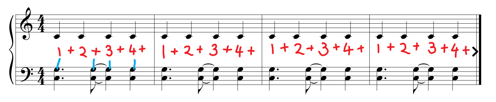 Sheet music for piano exercise no. 2 with mark-up. Counting is added and matched to respective notes.