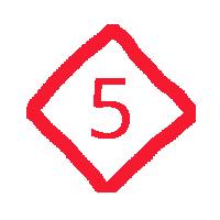 5 in a diamond.