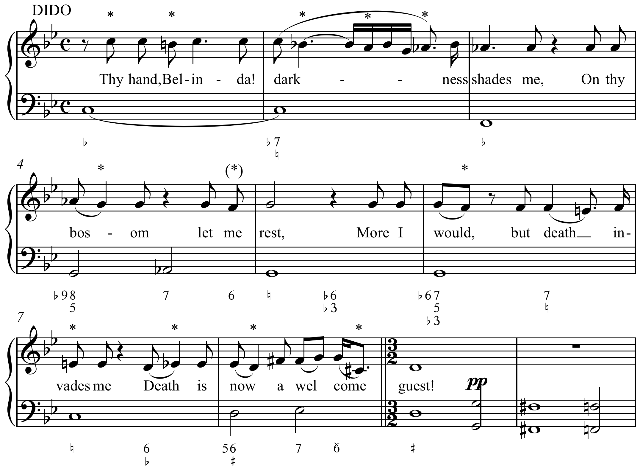"""Figured bass example from """"Thy Hand, Belinda"""" from Dido and Aeneas opera."""