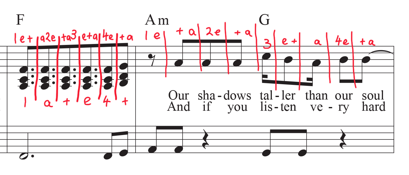 Stairway to Heaven sheet music with counting mark-up on dotted eighth notes
