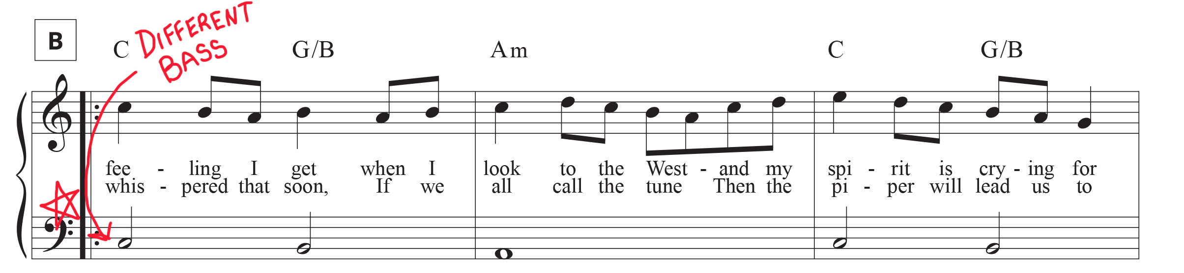 Stairway to Heaven section B sheet music mark-up of different bass line.