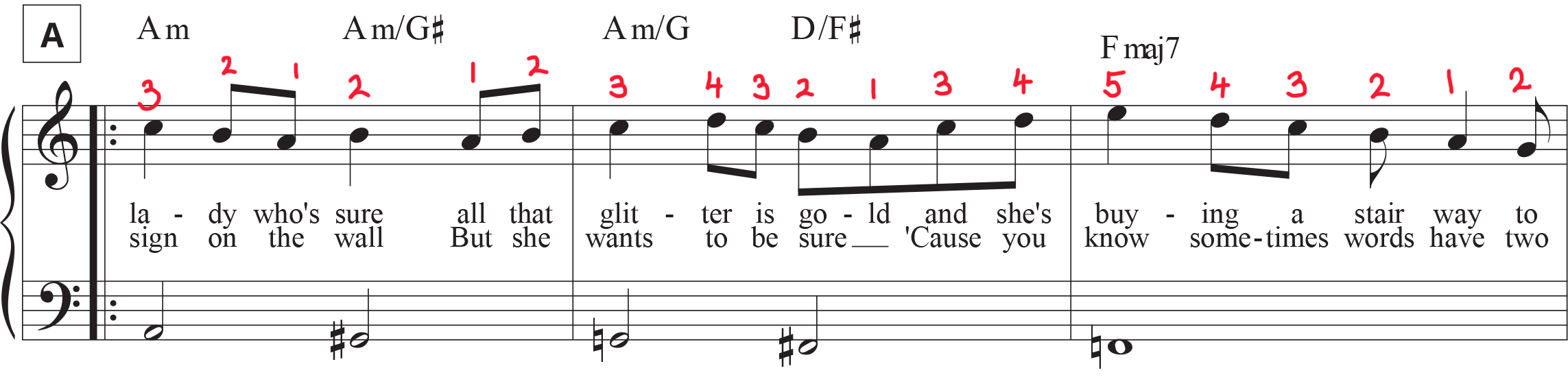 """""""Stairway to Heaven"""" sheet music mark-up of Section A with fingering in right hand."""