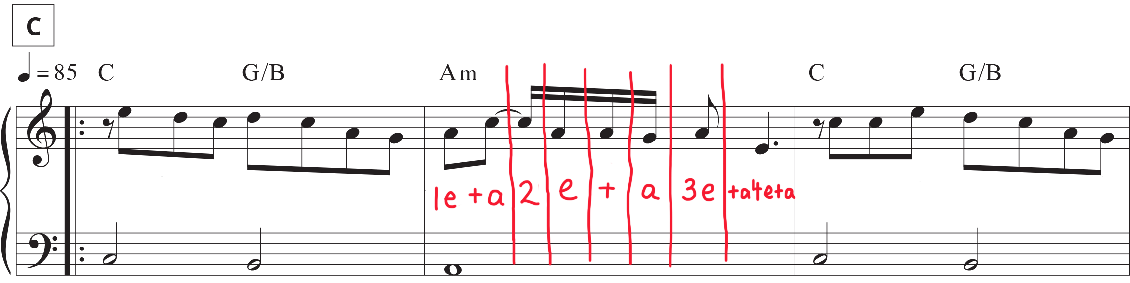 Section C Stairway to Heaven sheet music with counting mark-up of sixteenth notes.