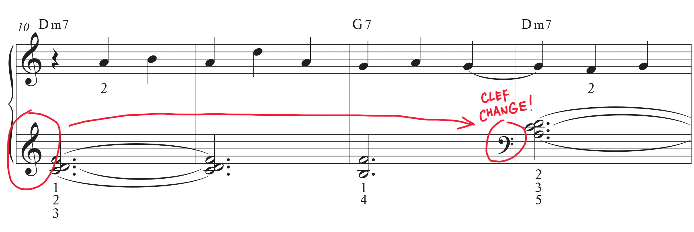 Easy sheet music for Clair de. Lune with clef change in measure 13 highlighted in red.