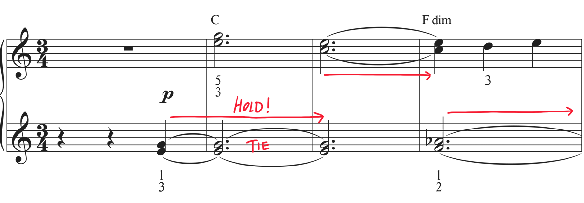 Beginning of easy sheet music for Clair de Lune with ties marked up with red arrows.