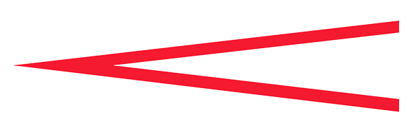 Crescendo symbol (less than symbol opened towards the right) in red.