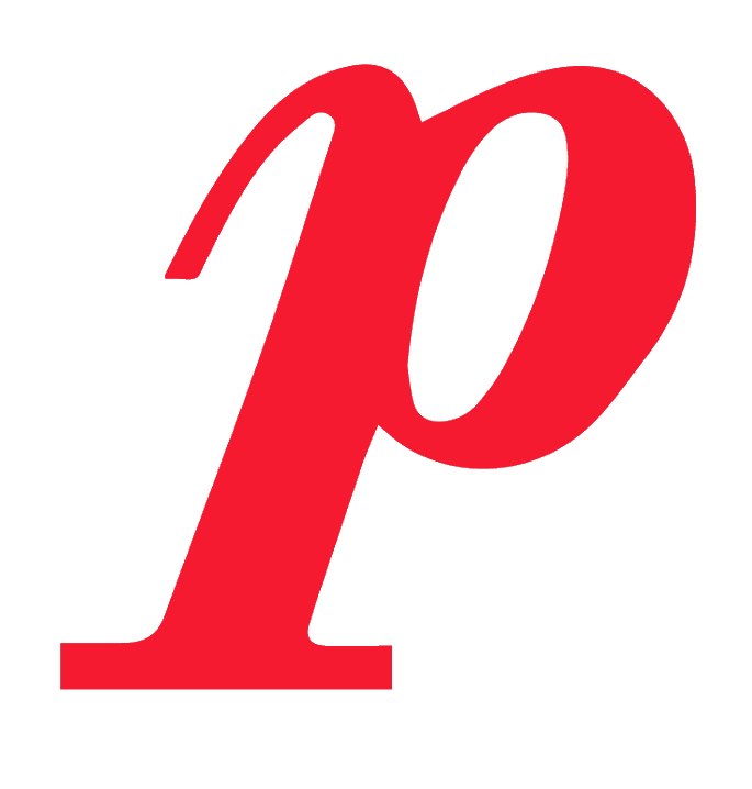 Piano symbol - p in red stylized font.