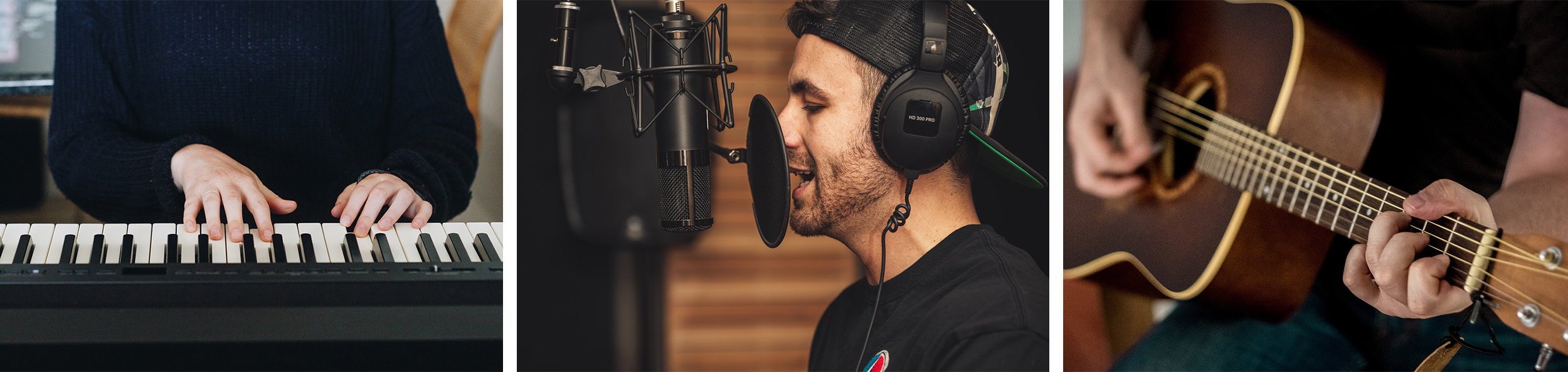 Three photos: hands playing a keyboard (from the front), man singing into a studio mic with headphones, up close view of acoustic guitar playing hands.
